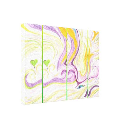 Heart Spirit Wrapped Canvas Green Mutlicolour