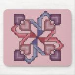 Heart Square Cross Stitch Mousepad