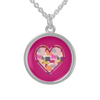 HEART SQUARED ROUND PENDANT NECKLACE