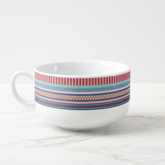 Heart, Star, and Stripe Pattern Soup Mug