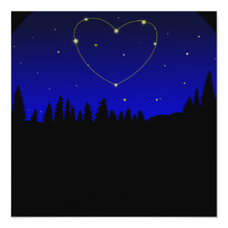 Heart Star Constellation 13 Cm X 13 Cm Square Invitation Card