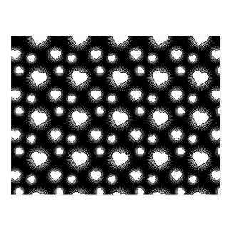 Heart Starburst 3 Black and White Postcard