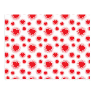 Heart Starburst 3 Red Postcard
