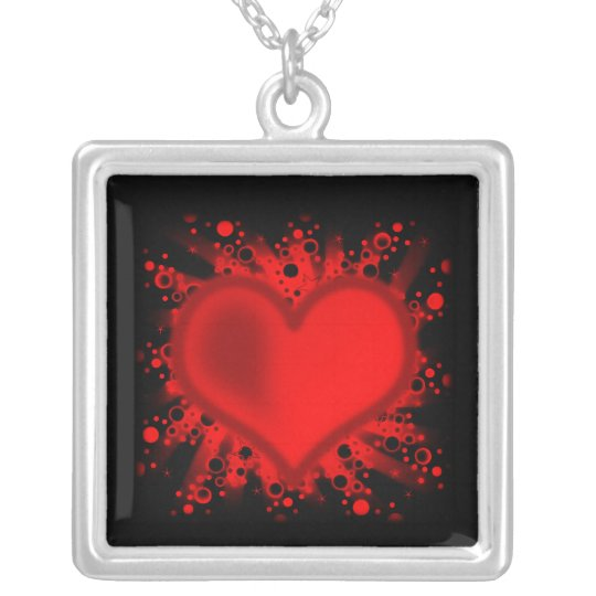 Heart, Stars, Circles, Dots, Rays - Black Red Silver Plated Necklace