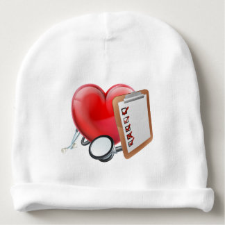 Heart Stethoscope Clipboard Medical Concept Baby Beanie