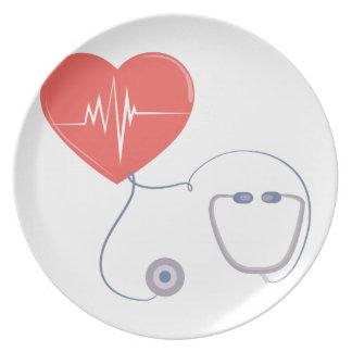 Heart Stethoscope Dinner Plates
