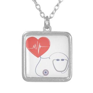 Heart Stethoscope Square Pendant Necklace