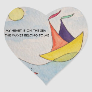 Heart sticker with art and text