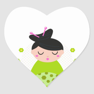 Heart Sticker with Geisha / green