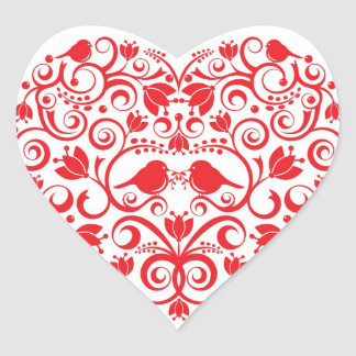 Heart Sticker with Love Birds