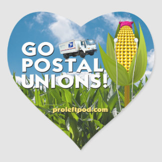 Heart Stickers (20/pg) - Go Postal Unions!