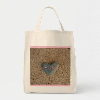 Heart Stone on Beach #1Mom Tote Bag
