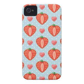 Heart Strawberries with Polka Dots And Hearts Case-Mate iPhone 4 Cases