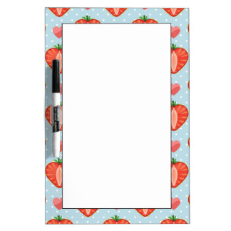 Heart Strawberries with Polka Dots And Hearts Dry Erase Board