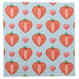 Heart Strawberries with Polka Dots And Hearts Napkin
