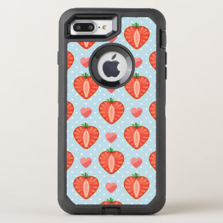 Heart Strawberries with Polka Dots And Hearts OtterBox Defender iPhone 8 Plus/7 Plus Case
