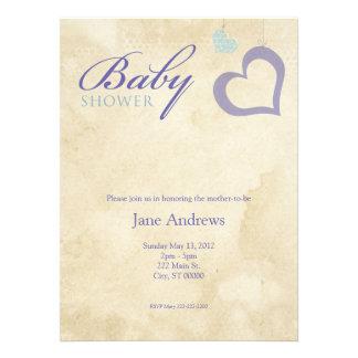 Heart Strings Baby Shower - Purple Blue Announcements