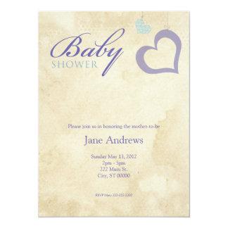 Heart Strings Baby Shower - Purple & Blue Announcements