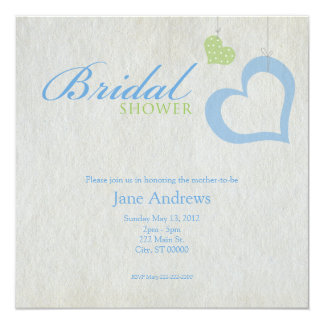 Heart Strings Bridal Shower - Blue & Green 13 Cm X 13 Cm Square Invitation Card