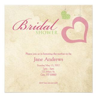 Heart Strings Bridal Shower - Pink Green Custom Announcement