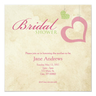 Heart Strings Bridal Shower - Pink & Green 5.25x5.25 Square Paper Invitation Card