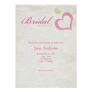 Heart Strings Bridal Shower - Pink Green Personalized Announcement
