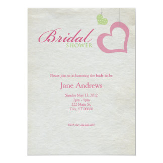 Heart Strings Bridal Shower - Pink & Green 5.5x7.5 Paper Invitation Card