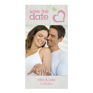 Heart Strings Save The Date - Green Pink Personalized Photo Card