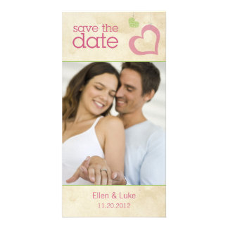 Heart Strings Save The Date - Green Pink Custom Photo Card