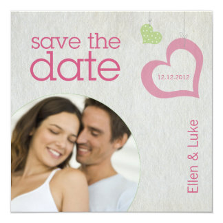 Heart Strings Save The Date - Pink & Green 13 Cm X 13 Cm Square Invitation Card