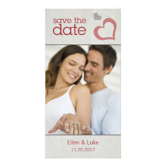 Heart Strings Save The Date - Red & Black Custom Photo Card