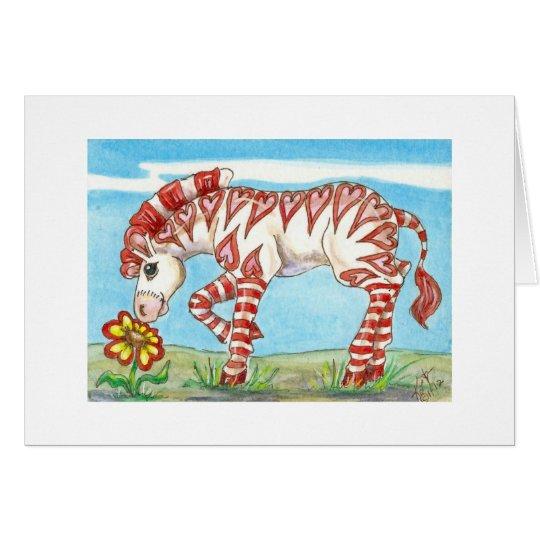 Heart Stripe Valentine Zebra and Flower Card