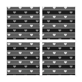 Heart Stripes Black and White Canvas Print