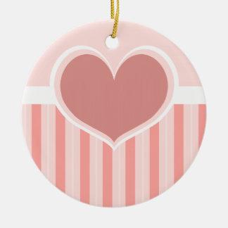 Heart Stripes Round Ceramic Decoration