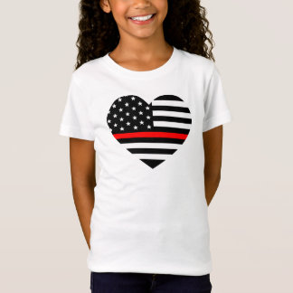 Heart Support Firefighter Flag T-Shirt