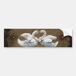 Heart Swans Love Birds Just Married Bumper Sticker