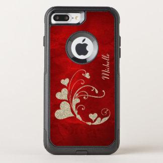 Heart Swirl Gold Faux Glitter Red OtterBox Commuter iPhone 7 Plus Case