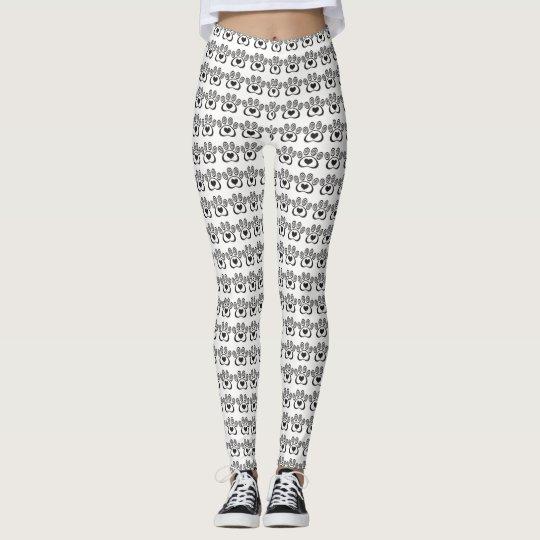Heart & Swirl Paw Print Leggings - White