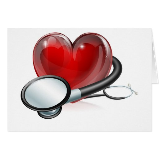 Heart symbol and stethoscope greeting card