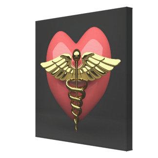 Heart symbol with medical symbol (caduceus) canvas print