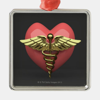 Heart symbol with medical symbol (caduceus) christmas ornament