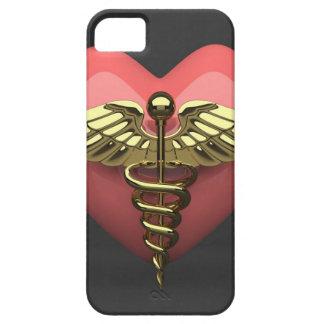 Heart symbol with medical symbol (caduceus) iPhone 5 case