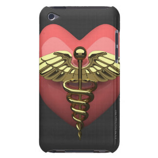 Heart symbol with medical symbol (caduceus) iPod touch cover