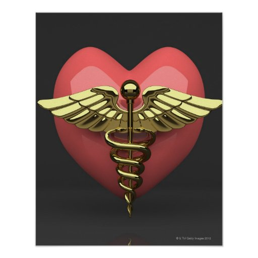Heart symbol with medical symbol (caduceus) poster