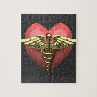 Heart symbol with medical symbol (caduceus) puzzles