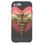 Heart symbol with medical symbol (caduceus) tough iPhone 6 case