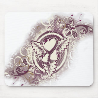 Heart Tattoo Flowers (Espresso and Cream) Mouse Pad