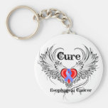 Heart Tattoo Wings - Cure Oesophageal Cancer Basic Round Button Key Ring