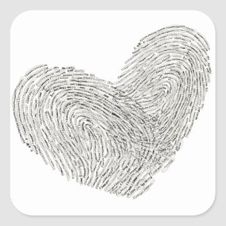 Heart text design in thumbprint seal