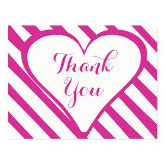 Heart Thank You Purple Fuchsia & White Stripes Postcard